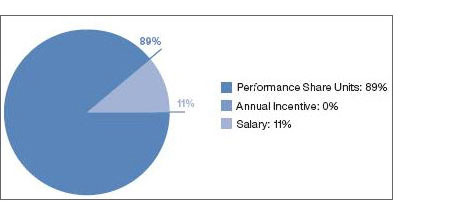 Describes compensation mix for Chairman and CEO 10% salary, 27% annual incentive, 63% performance shares.