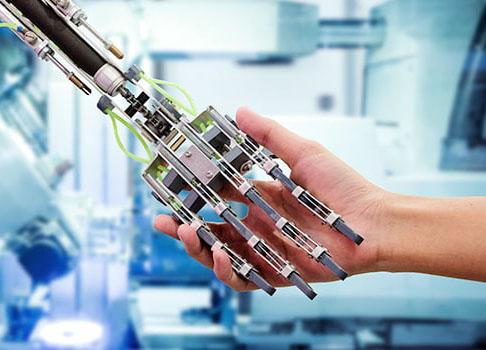 Robotic hand shaking human hand
