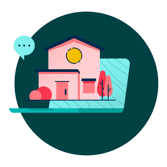 Illustration of a home with a text bubble above it.