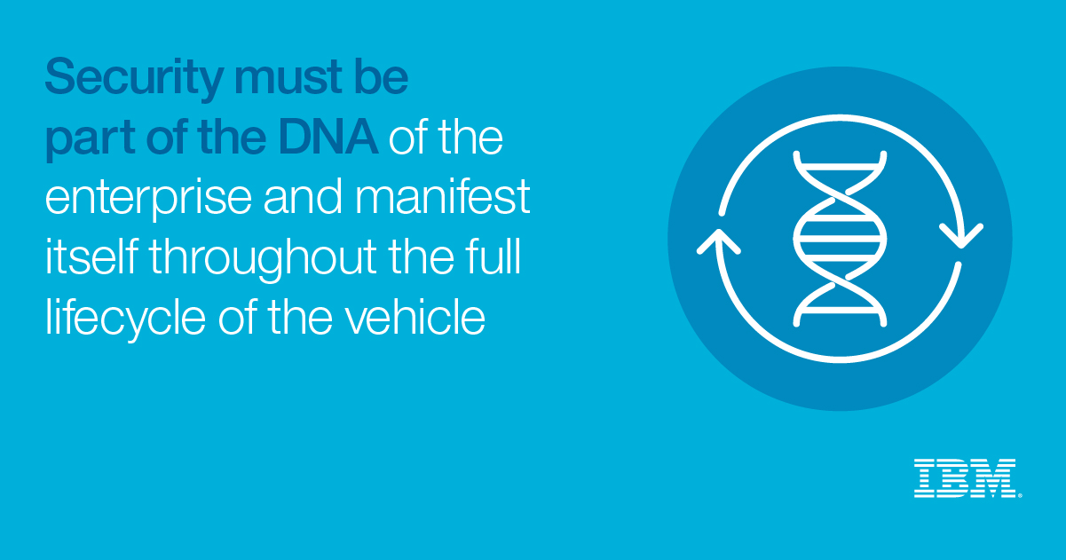 Security must be part of the DNS of the enterprise and manifest itself throughout the full lifecycle of the vehicle - IBM