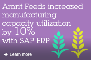 Amrit Feeds increased manufacturing capacity utilization by 10 % with SAP ERP learn more