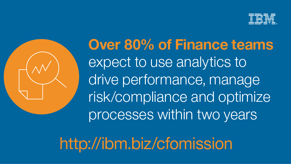 Over 80% of Finances teams expect to use analytics to drive performance, manage risk/compliance and optimize processes within two years. - http://ibm.biz/cfomission - IBM