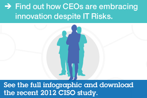 Find out how CEOs are embracing innovation despite IT Risks. See the full infographic and download the recent 2012 CISO study.