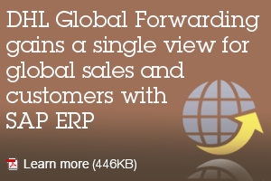 DHL Global Forwarding gains a single view for global sales and customers with SAP ERP. Learn more.