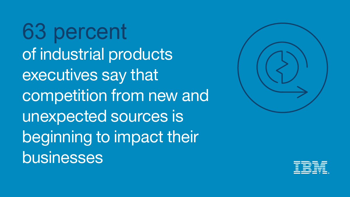63 percent of industrial products executives say that competition from new and unexpected sources is beginning to impact their businesses - IBM