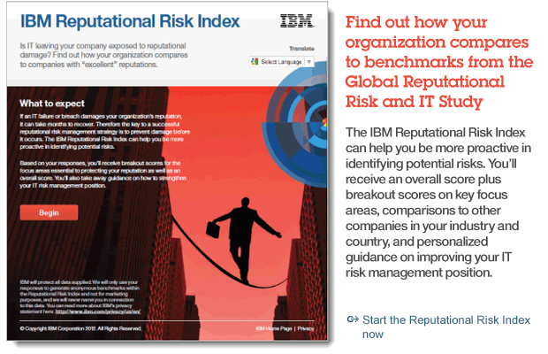 Find out how your organization compares to benchmarks from the Global Reputational Risk and IT Study. Start the Reputational Risk Index now