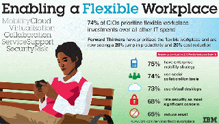 Enabling a Flexible Workplace  MobilityCloud Virtualization Collaboration ServiceSupport SecurityRisk.  74% of CIOs prioritize flexible wokplace investments over all other IT spend.  Forward Thinkers have prioritized the flexible workplace and are now seeing a 20% jump   in productivity and 20% cost reduction.  Register to download the 2012 Flexible Workplace Study.  75% have enterprise mobility strategy  74% use social collaboration tools  73% use virtual desktops  68% rete security as most significant concern  65% reduce email  www.ibm.com/services/flexibleworkplace IBM.