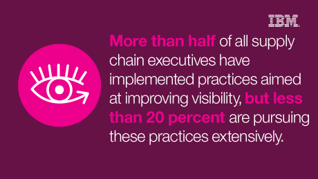 More than half of all supply chain executives have implemented practices aimed at improving visibility, but less than 20 percent are pursuing these practices extensively. - IBM