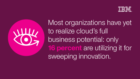 Most organizations have yet to realize cloud's full business potential: only 16 percent are utilizing it for sweeping innovation.
