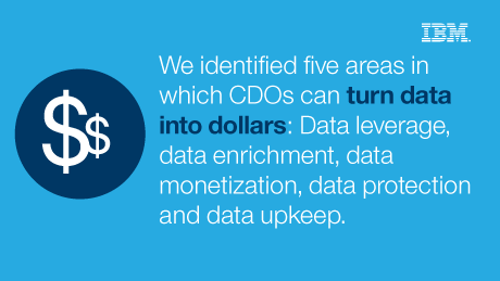 We identified five areas in which CDOs can turn data into dollars: Data leverage, data enrichment, data monetization, data protection and data upkeep.