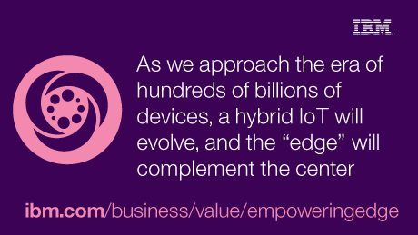 IBM. As we approach the era of hundreds of billions of devices, a hybrid IoT will evolve, and the 'edge' will complement the center. ibm.com/business/value/empoweringedge.
