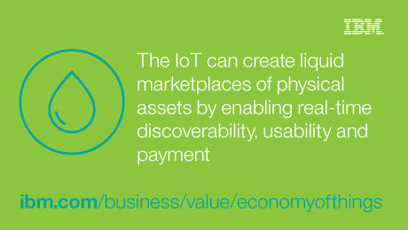 The IoT can create liquid marketplaces of physical assets by enabling real-time discoverability, usability and payment.