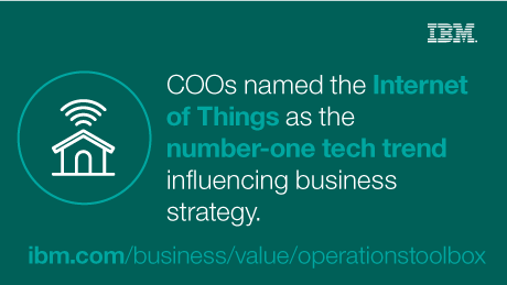 COOs named the Internet of Things as the number-one tech trend influencing business strategy. - ibm.com/business/value/operationstoolbox