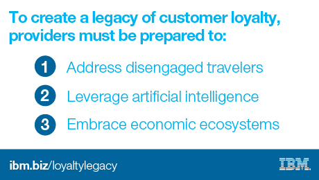 To create a legacy of customer loyalty, providers must be prepared to: 1 address disengaged travelers. 2 leverage artificial intelligence. 3 Embrace economic ecosystems. ibm.biz/loyaltylegacy. IBM