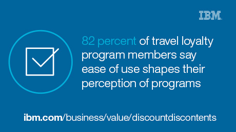 82 percent of travel loyalty program members say ease of use shapes their perception of programs. ibm.com/business/value/discountdiscontents