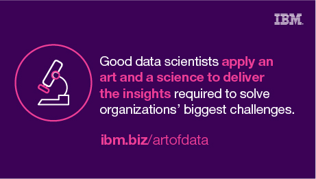 Good data scientists apply an art and a science to deliver the insights required to solve organizations' biggest challenges. ibm.biz/artofdata
