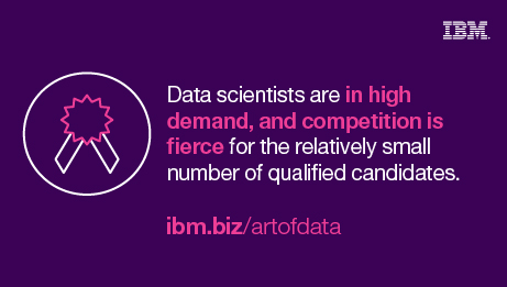 Data scientists are in high demand, and competition is fierce for the relatively small number of qualified candidates. ibm.biz/artofdata
