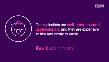 Data scientists are well compensated professionals, and they are expensive to hire and costly to maintain. ibm.biz/artofdata