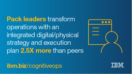 Pack leaders transform operations with an integrated digital/physical strategy and execution plan 2.5X more than peers. - ibm.biz/cognitiveops