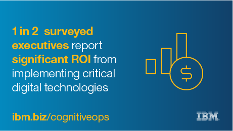 1 in 2 surveyed executives report significant ROI from implementing critical digital technologies. - ibm.biz/cognitiveops