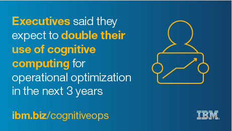 Executives said they expect to double their use of cognitive computing for operational optimization in the next 3 years. - ibm.biz/cognitiveops