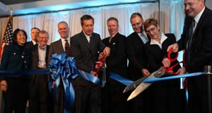 Ohio Governor John R Kasich and executives from IBM cut the ribbon officially opening the IBM Client Center for Advanced Analytics in Columbus, Ohio