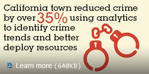 California town reduced crime by over 35% using analytics to identify crime trends and better deploy resources. Learn more.