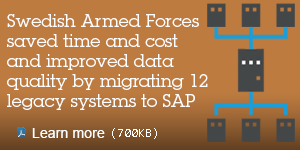 Swedish Armed Forces saved time and cost and improved data quality by migrating 12 legacy systems to SAP. Learn more.