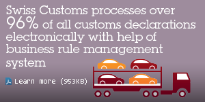 Swiss Customs processes over 96% of all customs declarations electronically with help of business rule management system. Learn more.