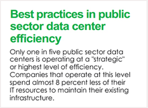 "Best practices in public sector data center efficiency. Only one in five sector data centers is operating at a ""strategic"" or highest level of efficiency. Companies that operate at this level spend almost 8 percent less of their IT resources to maintain their existing infrastructure."