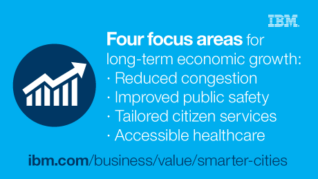 Four focus areas for long-term economic growth: Reduced congestion. Improved public safety. Tailored citizen services. Accessible healthcare.