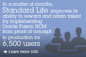 In a matter of months, Standard Life improves its ability to reward and retain talent by implementing Oracle Fusion HCM from proof of concept to production for 6,500 users. Learn more (US).
