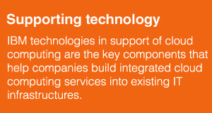 Supporting technology. IBM technologies in support of cloud computing are the key components that help companies build integrated cloud computing services into existing IT infrastructures.