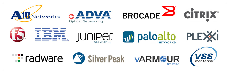A10 Networks, ADVATM Optical Networking, BROCADE, CITRIX, f5, IBM, JUNIPER NETWORKS, paloalto NETWORKS, PLEXXI, radware, Silver Peak, vARMOUR NETWORKS, VSS monitoring