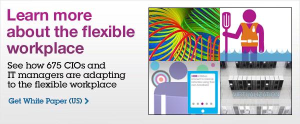 Learn more about the flexible workplace. See how 675 CIOs and IT managers are adapting to the flexible workplace. Get White Paper(US)