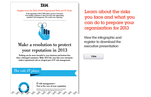 Insights from the 2012 Global Reputational Risk and IT Study. Make a resolution to protect your reputation in 2013. Learn more about the risks you face and what you can do to prepare your organization for 2013. View the infographic and register to download the executive presentation. View.