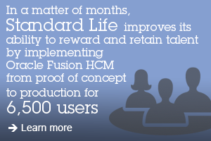 In a matter of months, Standard Life improves its ability to reward and retain talent by implementing Oracle Fusion HCM from proof of concept to production for 6,500 users. Learn more.