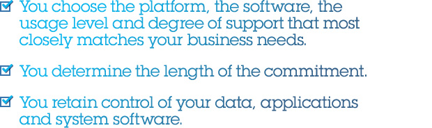 You choose the platform, the software, the usage level and degree of support that most closely matches your business needs. You determine the length of the commitment. You retain control of your data, applications and system software.