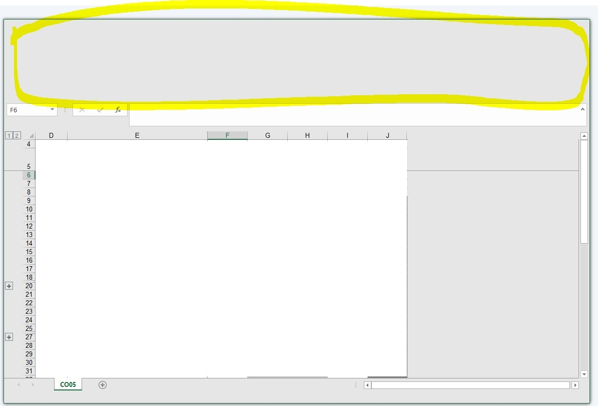 Excel ribbons and buttons are blank disappeared / grey space / no ...