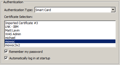 Pop Up window showing a list of certificates