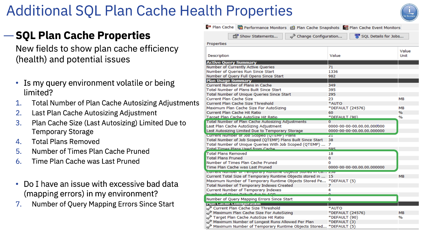 Additional SQL Plan Cache Health Properties