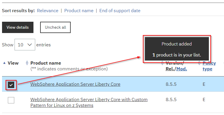 Screen shot: selecting a product displays a notification that the product has been added to your product list.
