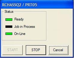 This print screen shows the Printer Status pop-up dialog box with the Ready and On-Line lights turned on, which indicates a successful connection.