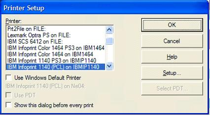 This print screen shows the Printer Setup dialog box where you can select the Windows printer to be used with this PC5250 printer session.