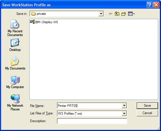 This print screen shows the Save WorkStation Profile As dialog box.