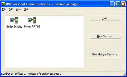 This print screen shows the IBM Personal Communications - Session Manager dialog box after saving the newly created PC5250 printer session.
