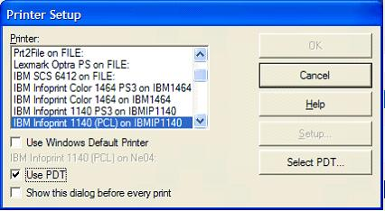 This print screen shows the Printer Setup dialog box after selecting to use a Printer Definition Table (PDT) file.