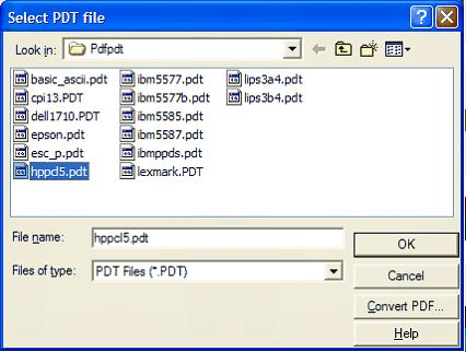 This print screen shows  the Select PDT file dialog box.