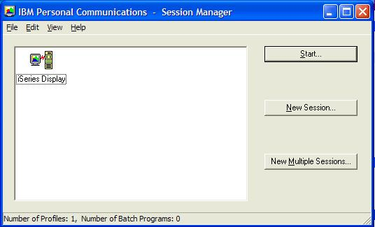 This print screen shows the IBM Personal Communications - Session Manager dialog box.