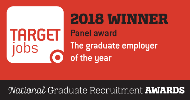 Target jobs 2018 Winner. The graduate employer of the year. Panel award logo